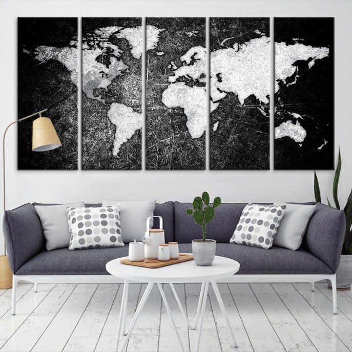17678 - Large Wall Art World Map Canvas Print- Watercolor World Map ...