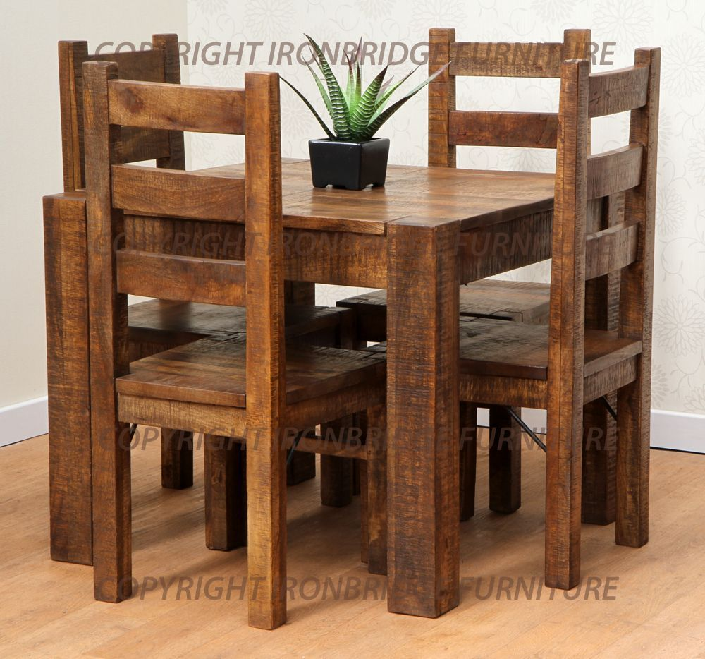 RUSTIC FARM 90cm DINING TABLE 4 RUSTIC FARM CHAIRS Chairs