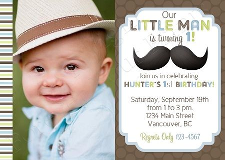 Printable Birthday Invitations For Boy ~ Little man mustache birthday invitation boy bdb birthday