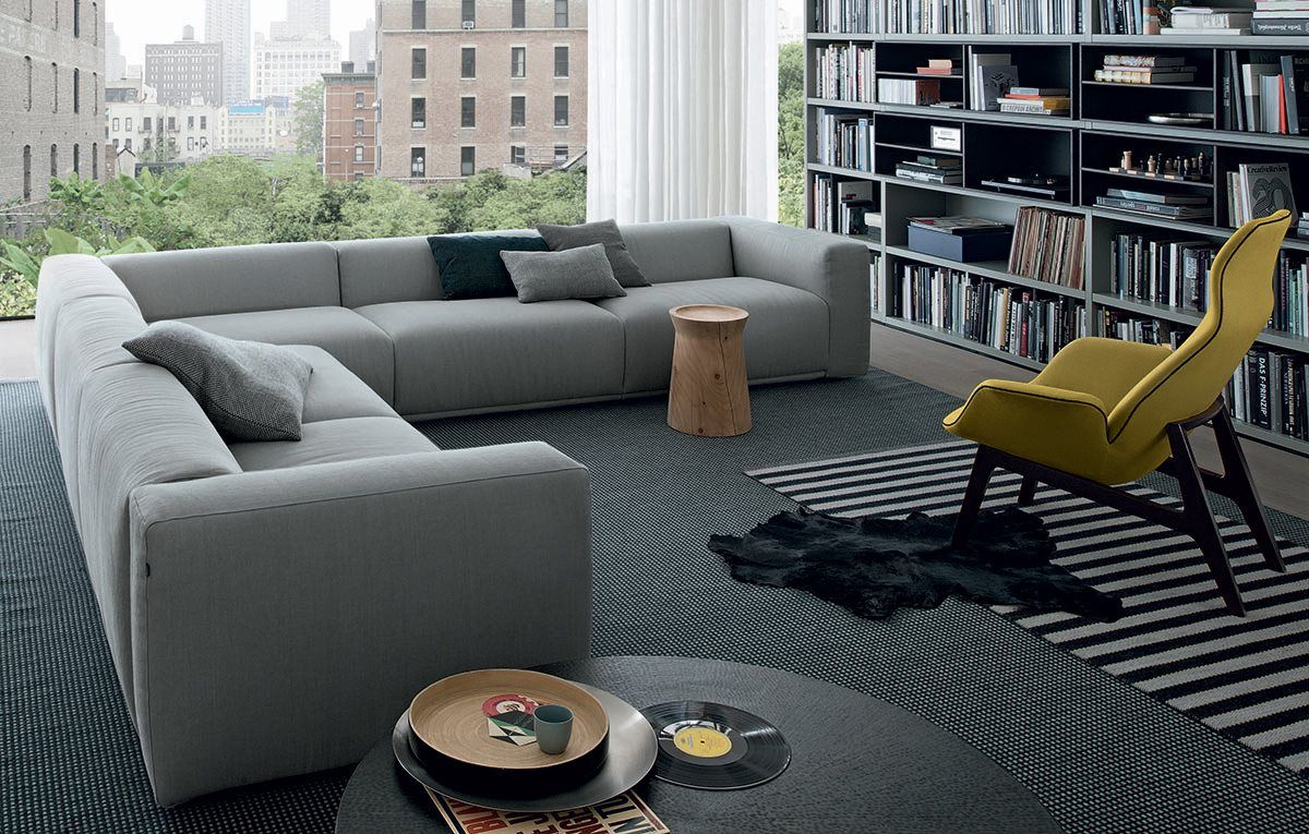 Bolton Sofa With Chaise Longue Covered With Fabric, Ecoleather Or Leather  (see Attached Charts) By Poliform, Design By Giuseppe Viganò. Amazing Design