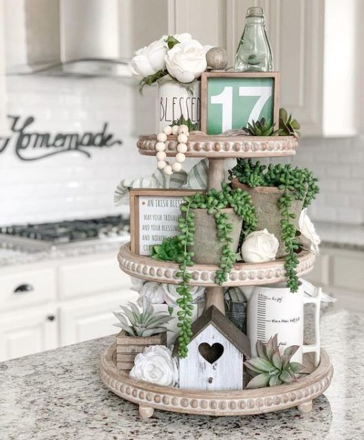 Tiered Trays for Spring!   Start at Home Decor