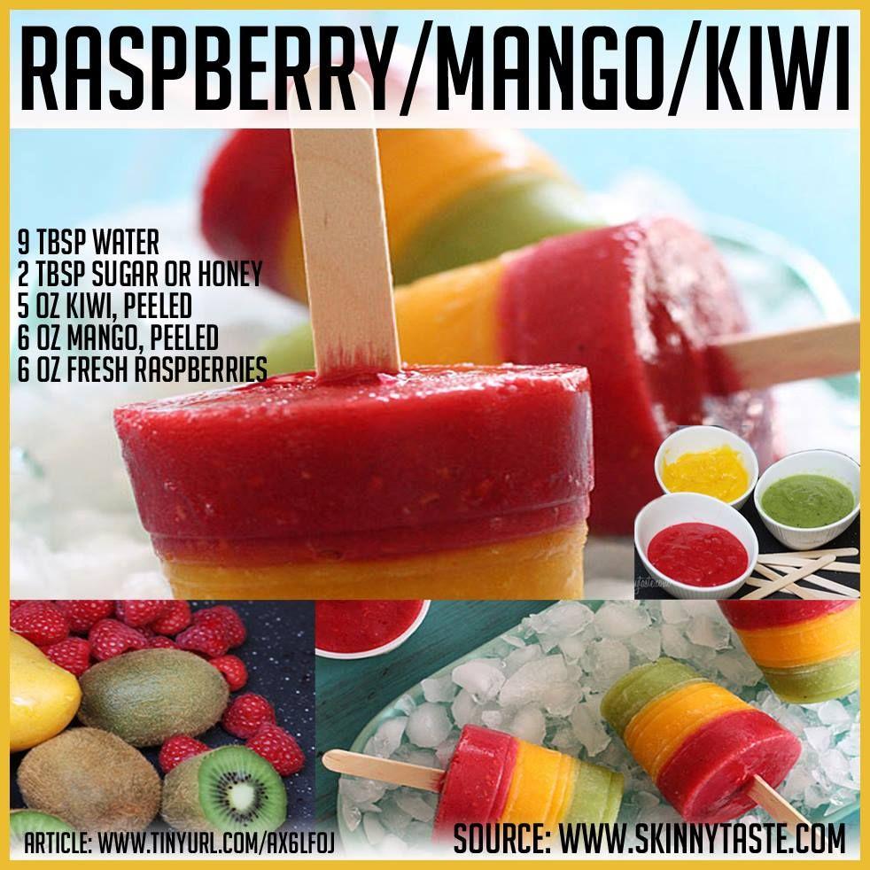 Awesome Paleo food ideas raspberry mango kiwi popsicle/ iced lolly