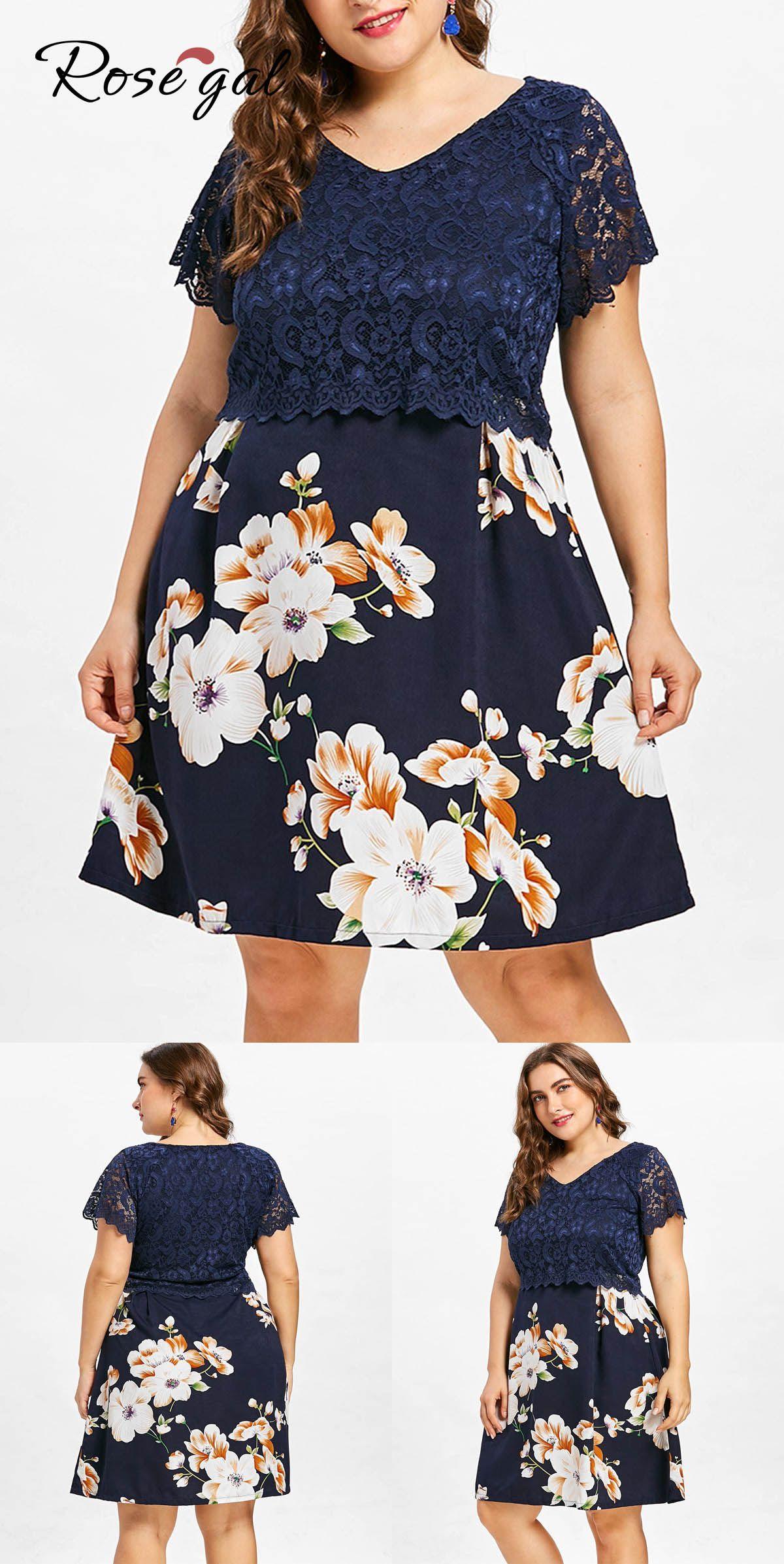 Plus Size Lace Overlay Floral Dress Plus size lace dress