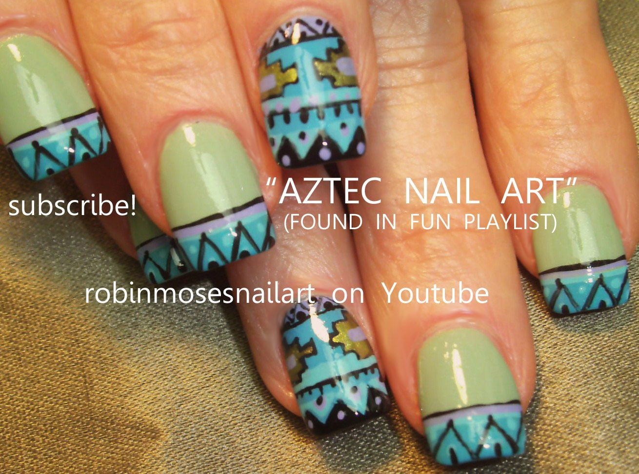 Nail Art By Robin Moses Aztec Design Httpyoutubewatchv