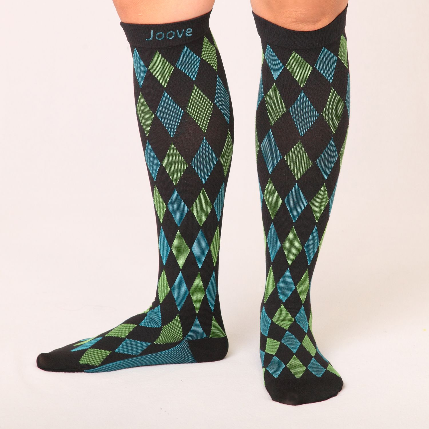 The Dylan in green & blue checkered Joove design. Compression socks 15-20 mmHg
