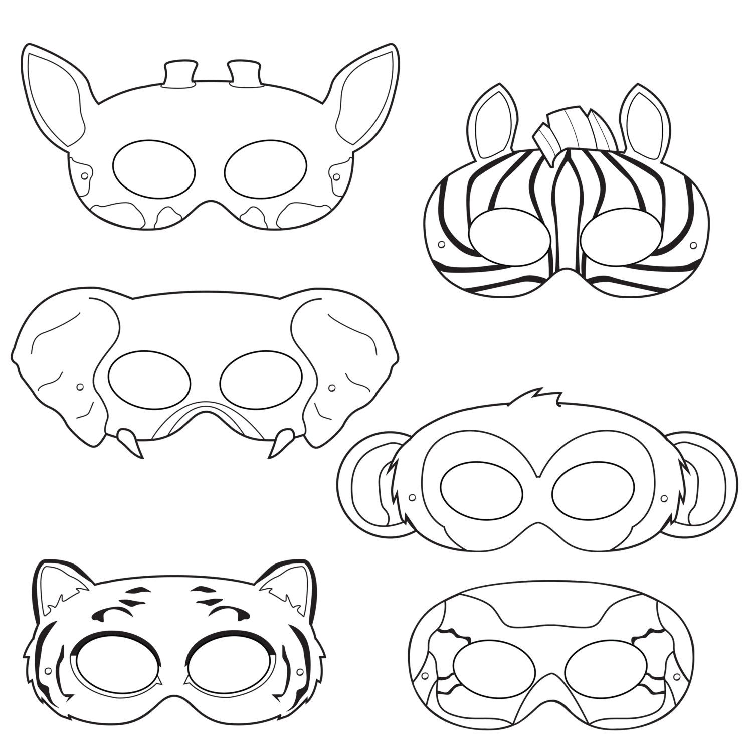 Jungle animaux coloriage masques masque de par happilyafterdesigns carnival pinterest - Coloriage masque ...