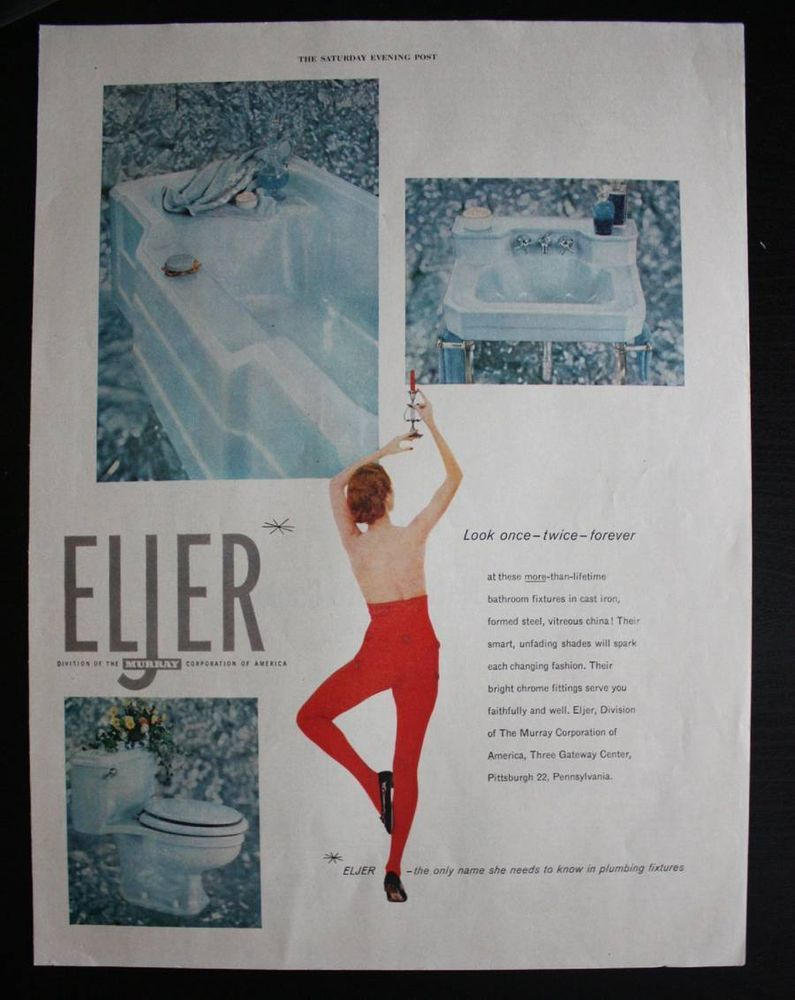 1955 Eljer Bathroom Fixtures 1950s Tub Sink Toilet Print Ad