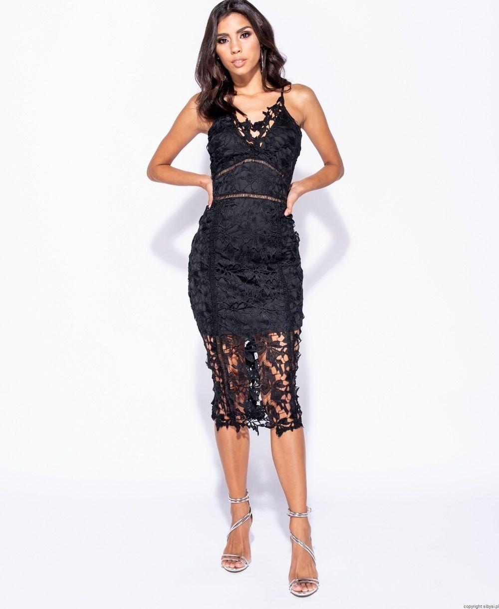 0c56f384c3 Morgan -sukienka z koronki midi (czarna) ost 34 36 38