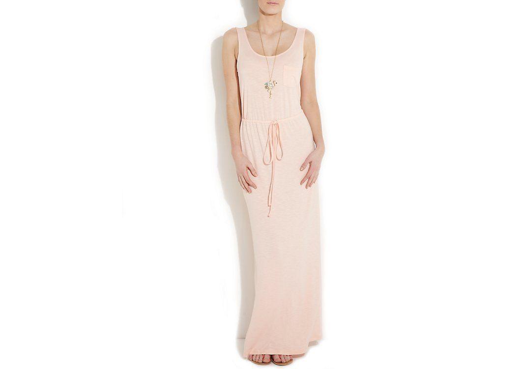 Peach Slub Pocket Maxi Dress