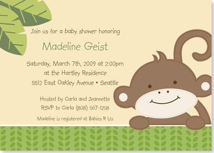 Free Printable monkey baby shower Invitation Templates Cute Baby