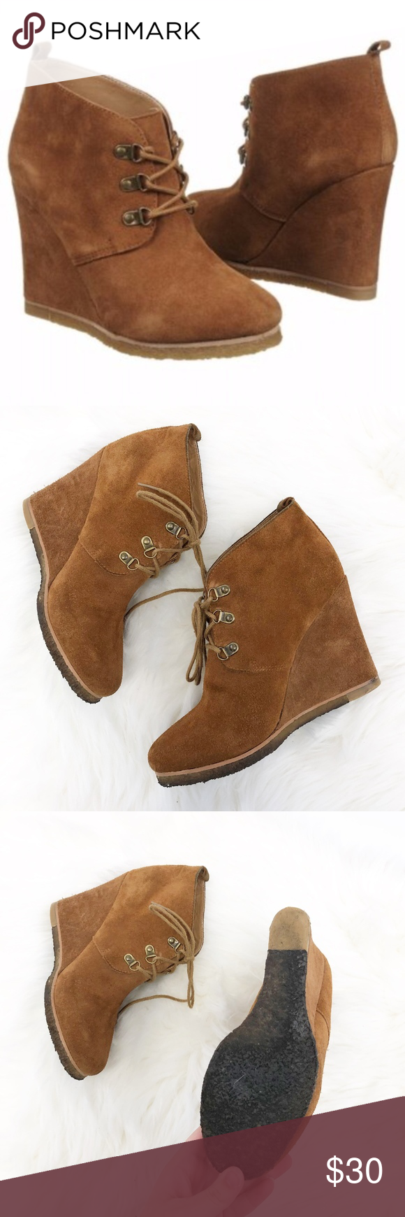 803c8f3453e steve madden   tanngoo wedge booties suede lace up in good used ...