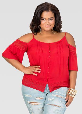 d31c516192e4b1 Cold-Shoulder Gauze Crochet Top-Plus Size Tops-Ashley Stewart-035-2370X