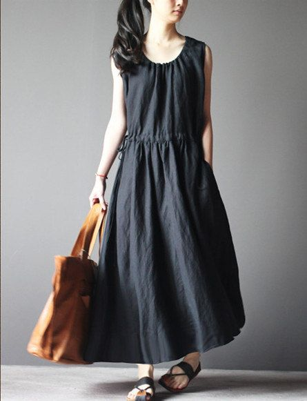 57c9b02b6a77 Loose fitting dress black cotton linen dress maxi dress spring dress plus  size dress sundress sleeveless dress plus size dress home dress