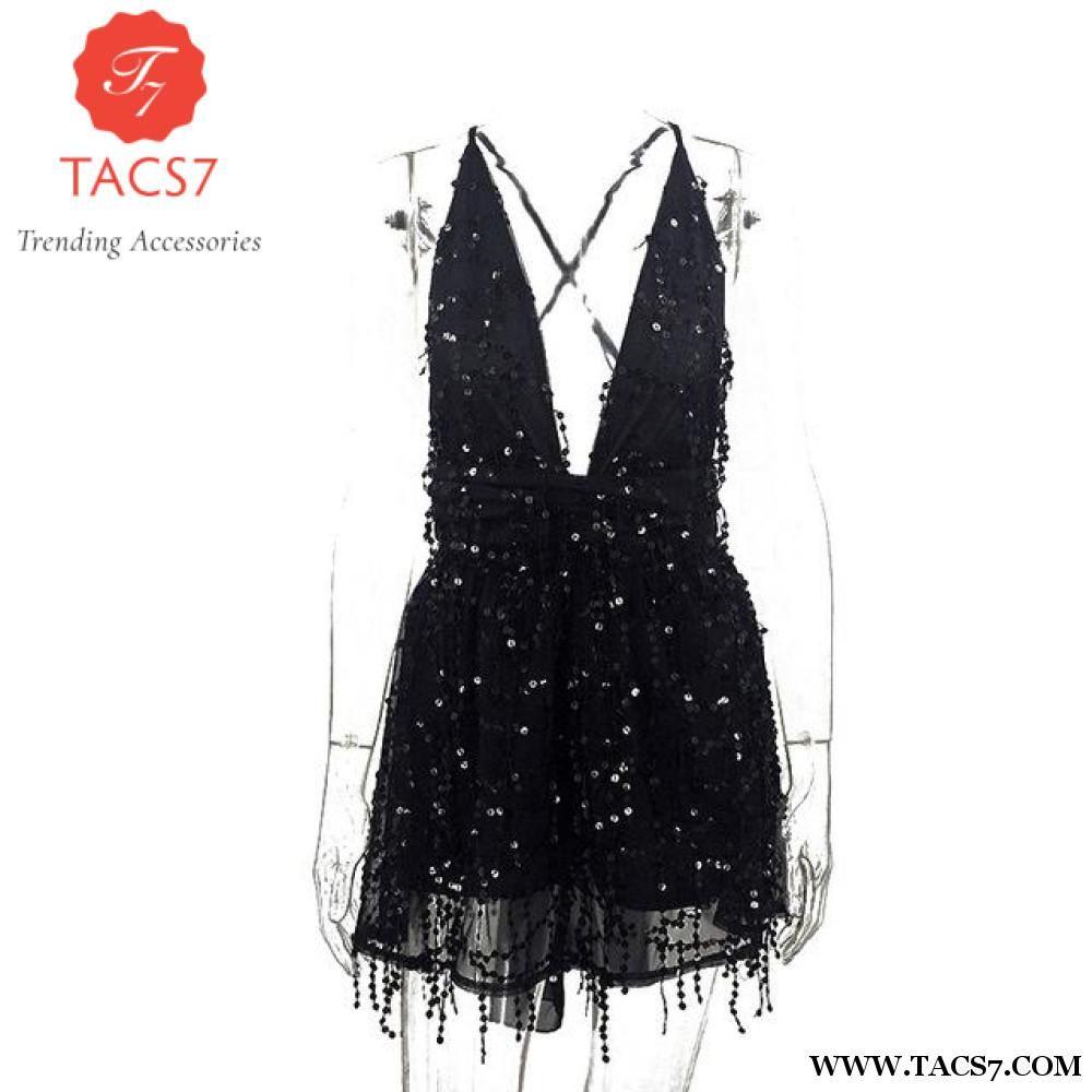 87463fd72f3 MCCKLE Sequin Dress Women Sexy Backless Halter V-neck Gold Mini Dress Party  Tassel Summer