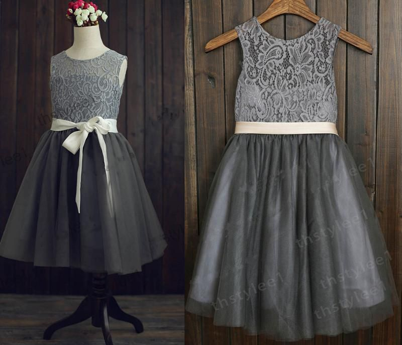 Silver Sequins Light Gray Tulle Flower Girl Dress Baby by deepado ...