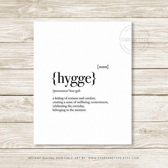 Hygge Dictionary Definition Meaning Quote Sign Printable Wall