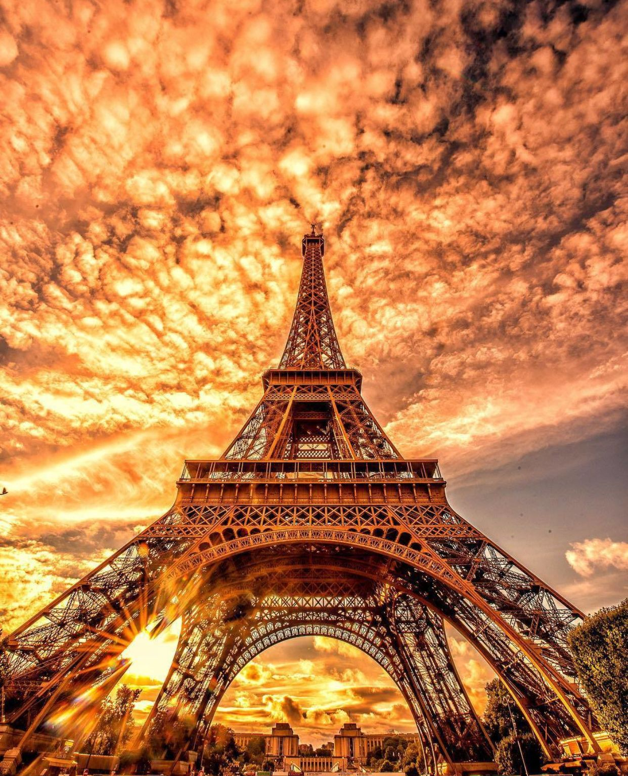 Sunset As Background For The Eiffel Tower Paris France