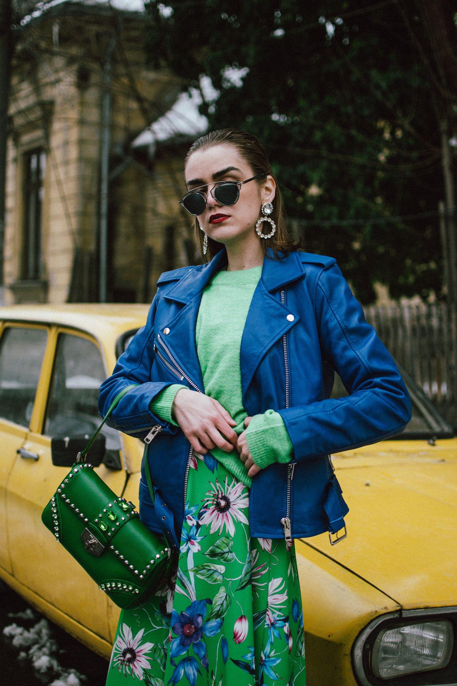 d738897f96e3f Blue leather jacket, green floral midi dress, sweater, dior sunglasses,  prada studded