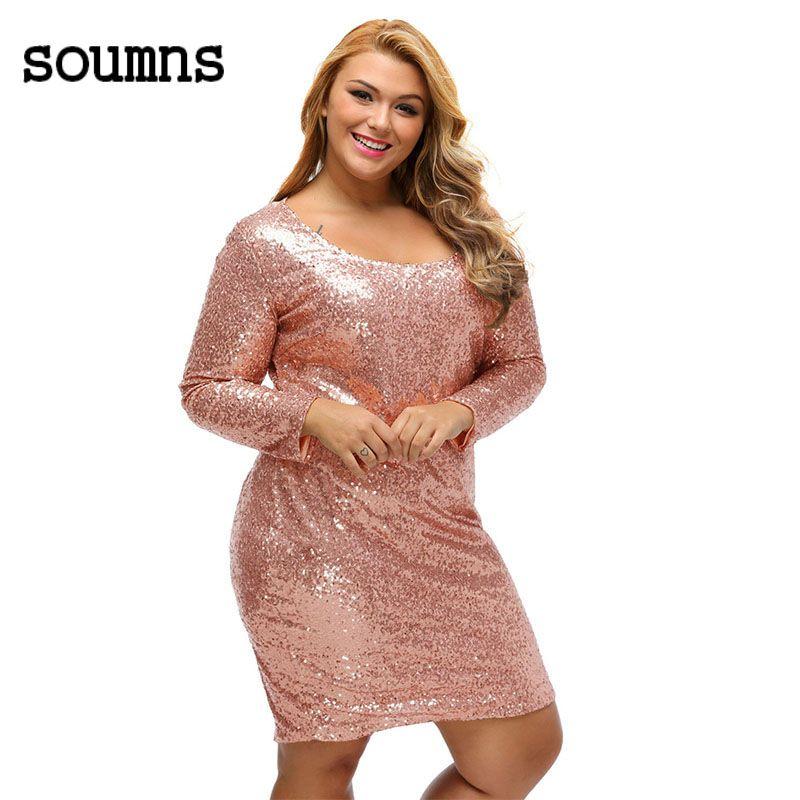 Winter office dames party dress herfst 2017 champagne sequin plus size  lange mouwen dress vestido lentejuelas · Plus Size Bodycon DressesDress  OnlineLong ... 7fc06eeeb4bd