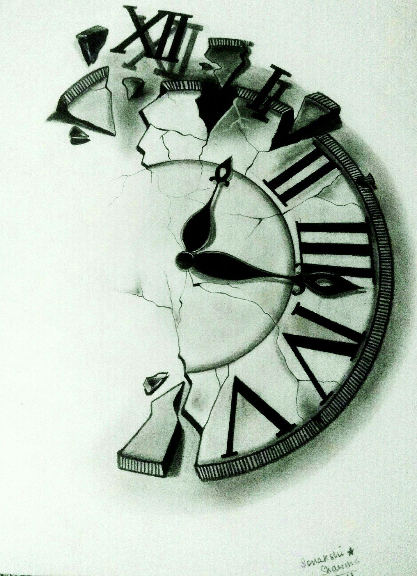 Broken Clock Pencil Drawing Clock Tattoo Clock Tattoo Sleeve
