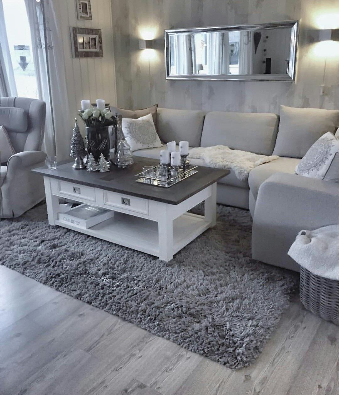 Light Grey Sofa With Two Tone White Coffee Table Atop A Darker Grey Area Rug Living Room Decor Apartment Farm House Living Room Simple Living Room