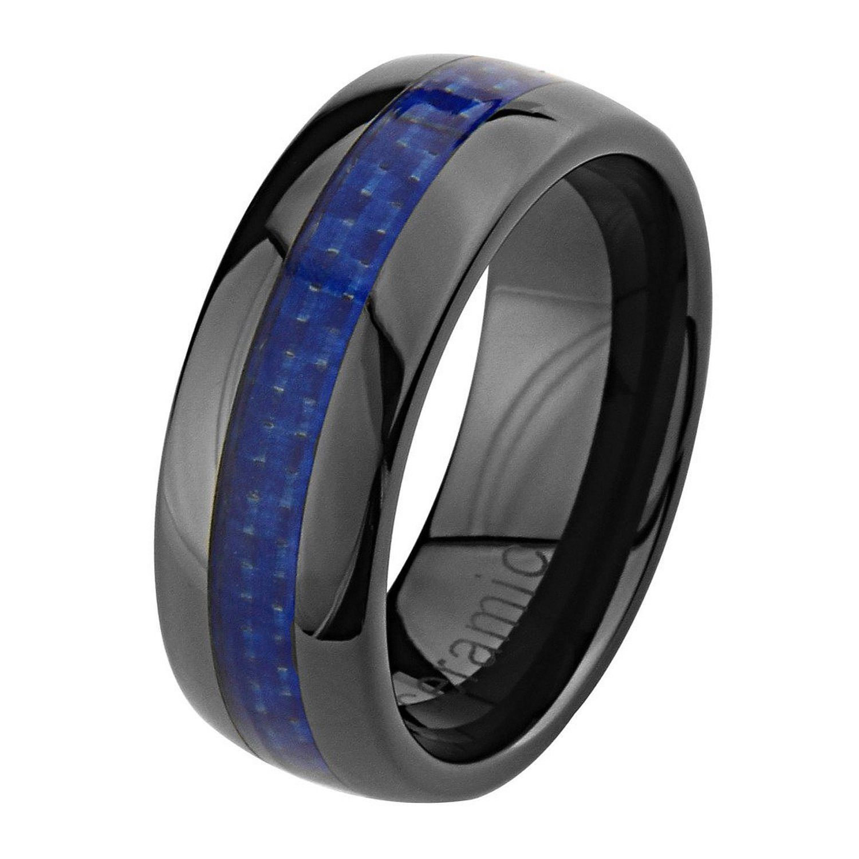 8mm high polish black ceramic comfort fit band blue carbon