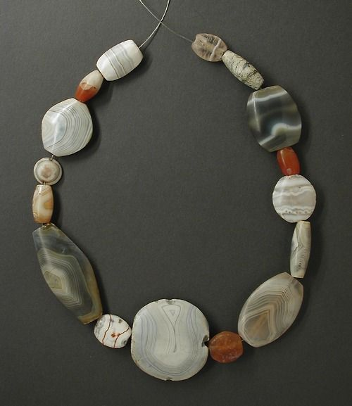 Necklace from ancient Bactria (located in modern Afghanistan, Uzbekistan, and Tajikistan), made of agate, and dates to the Namazga V period, circa 2200-1800 BCE.