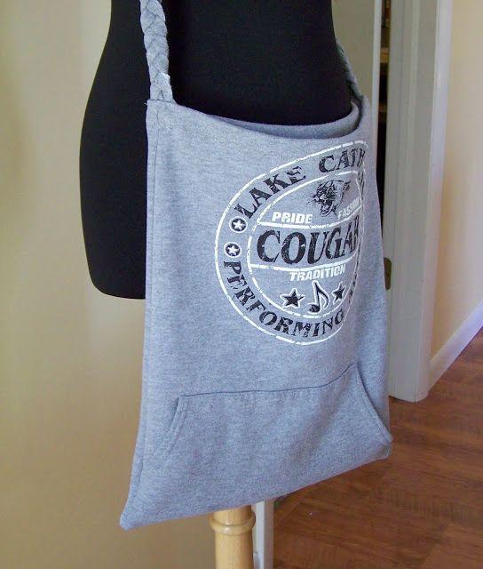 Turn An Old Hoo Sweatshirt Into A Tote Bag Diy Bags