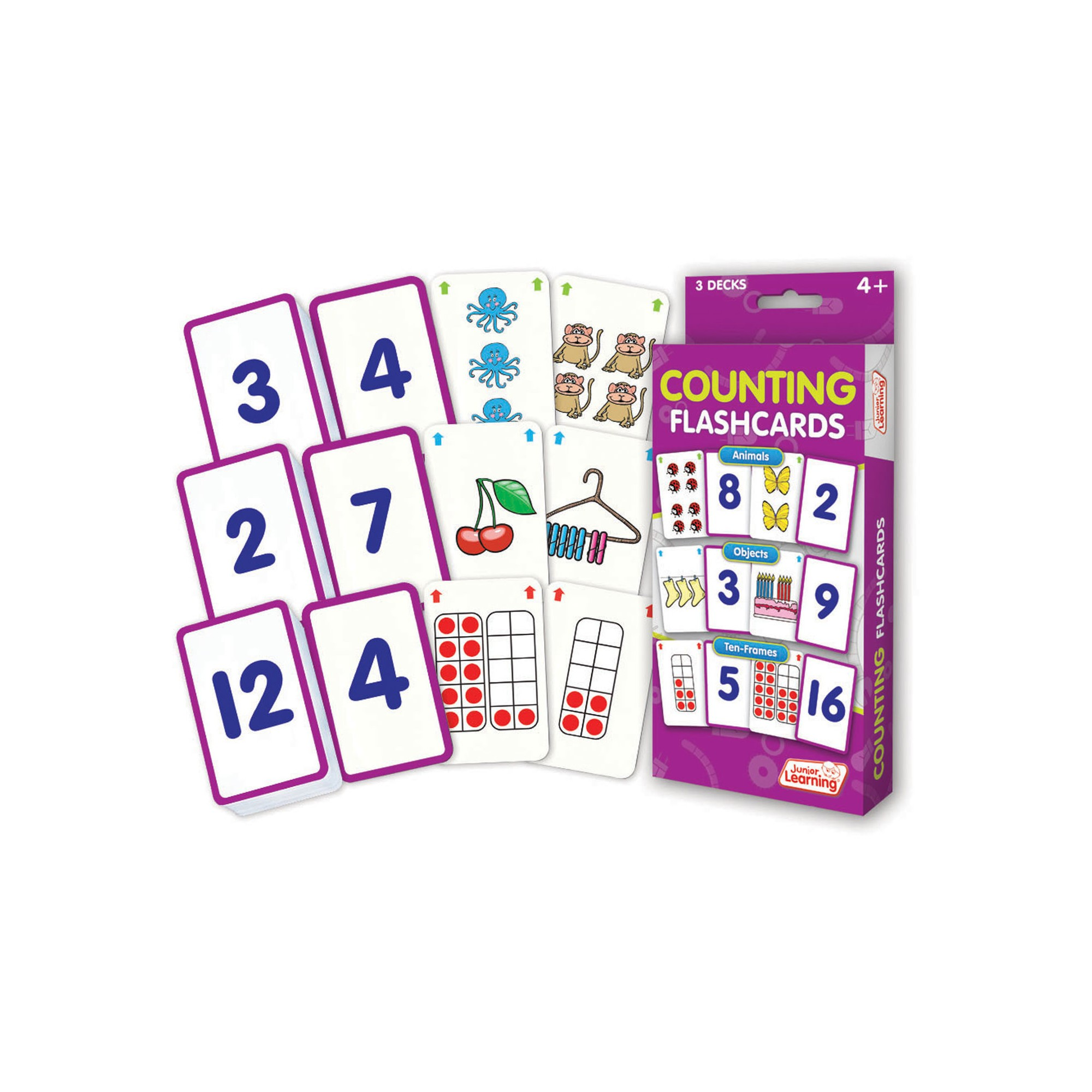 Junior Learning Counting Flashcards - Animals, Objects & Ten-Frames ...