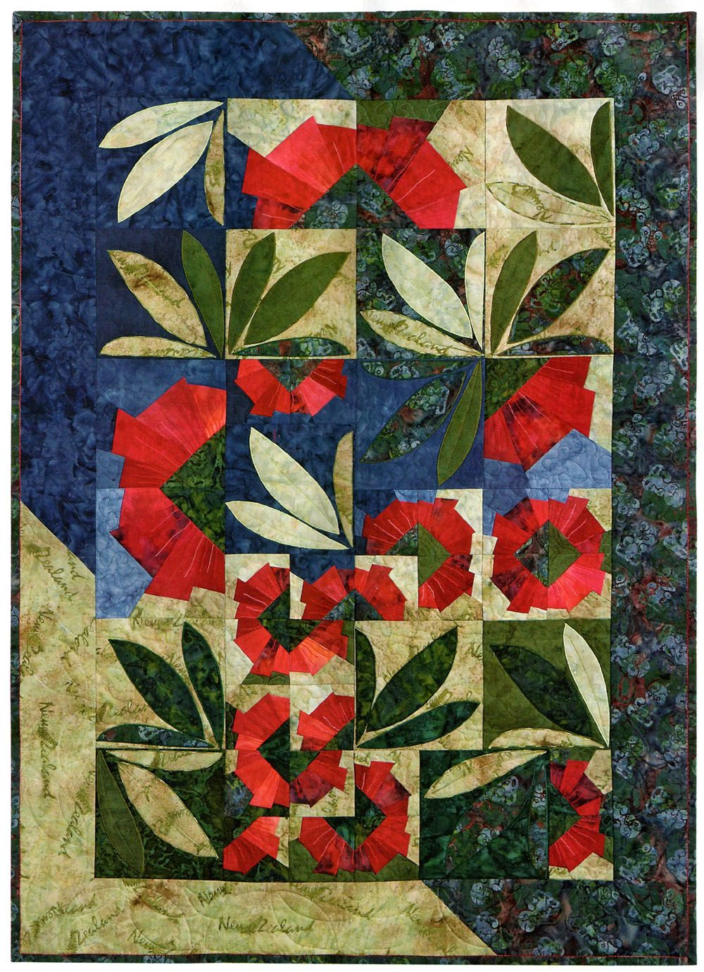 Quilted Wall Hanging Patterns pohutukawa wallhanging pattern - pattern here: http://www