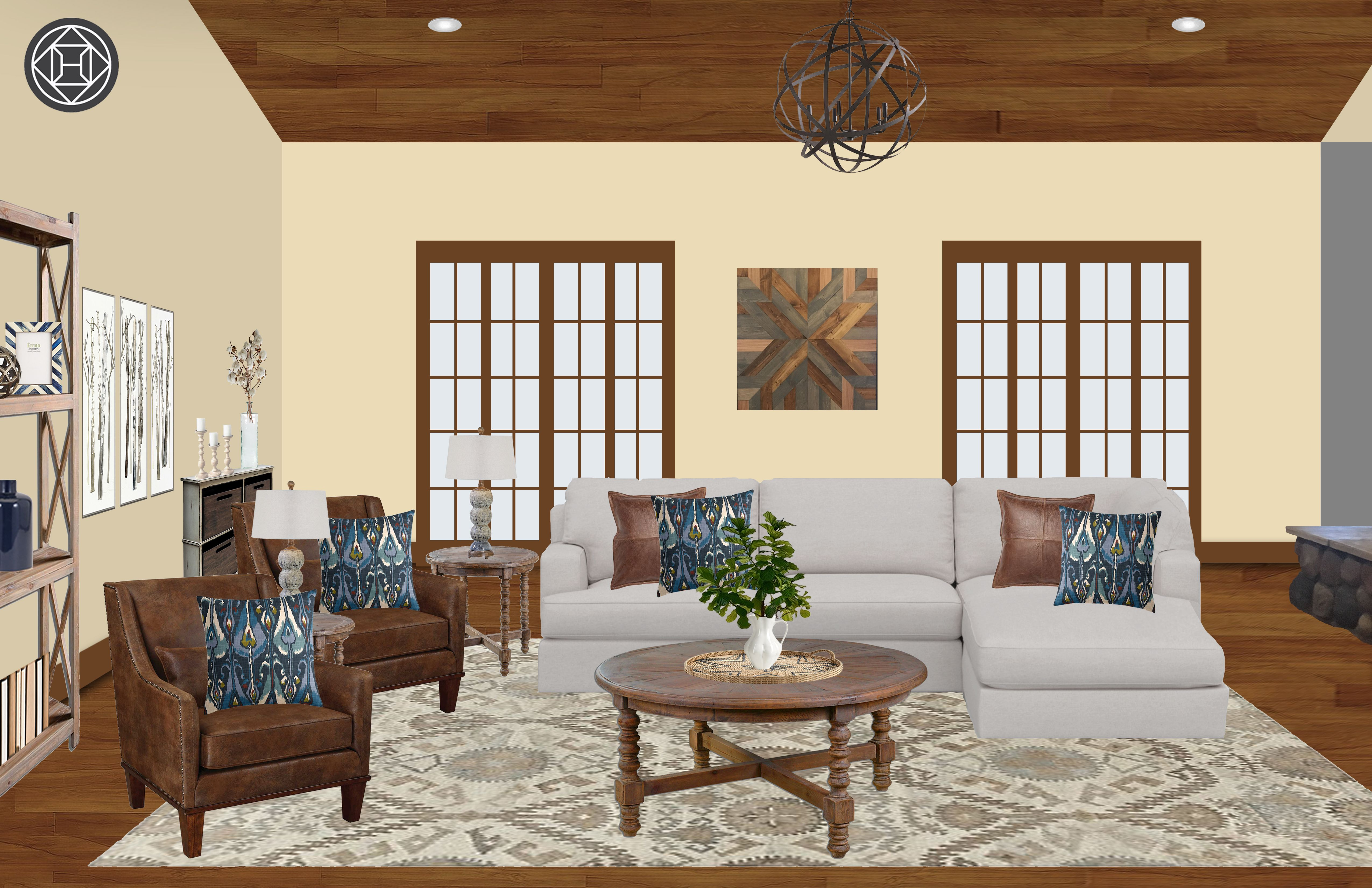 Farmhouse Rustic Living Room Design By Havenly Interior Designer