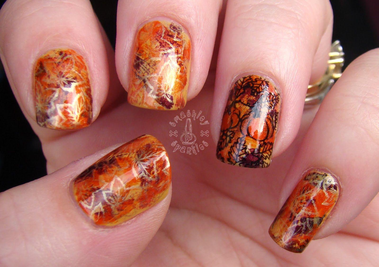 fall thanksgiving nail art stamping design - Google Search | Nail ...