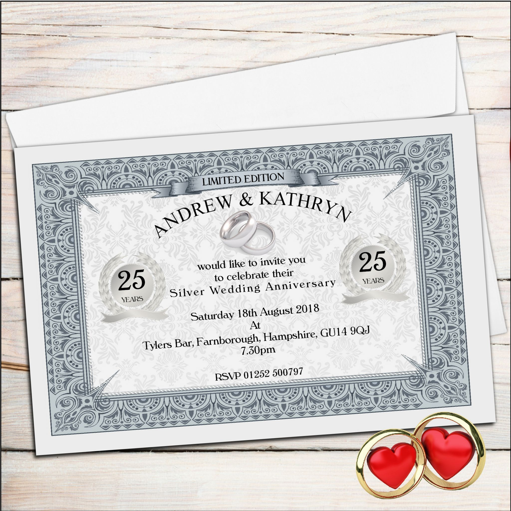 25th silver wedding anniversary invitations   wedding invitations ...