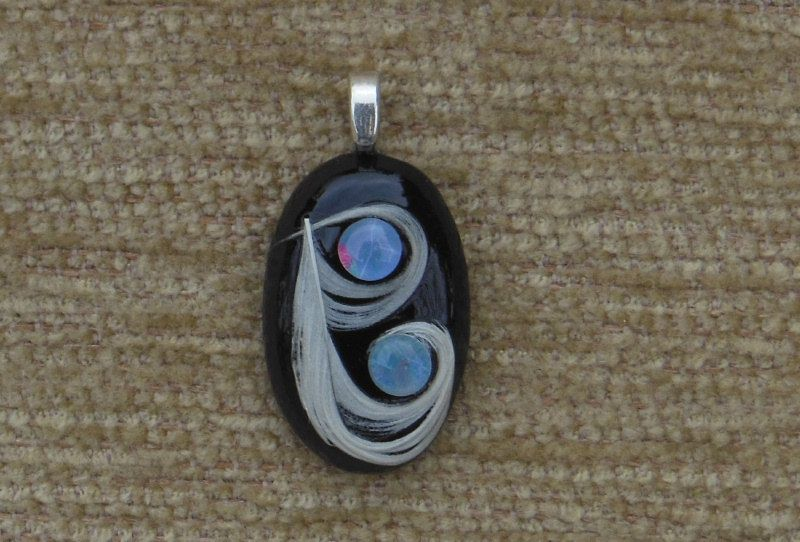Black agate, white feather and genuine black opal pendant with sterling silver chain by GodgivenTalent on Etsy