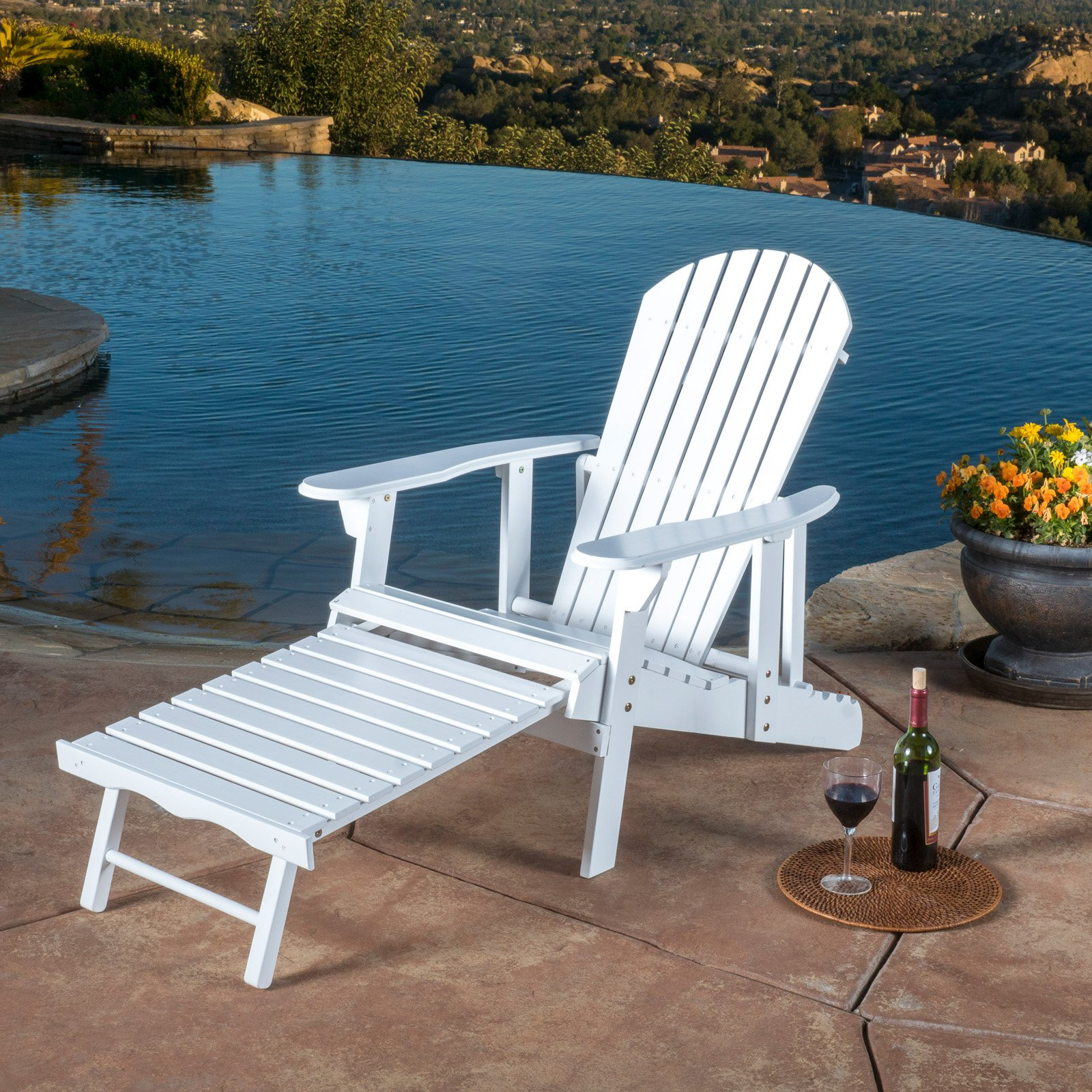 Outdoor Hayle Reclining Adirondack Chair with Footrest
