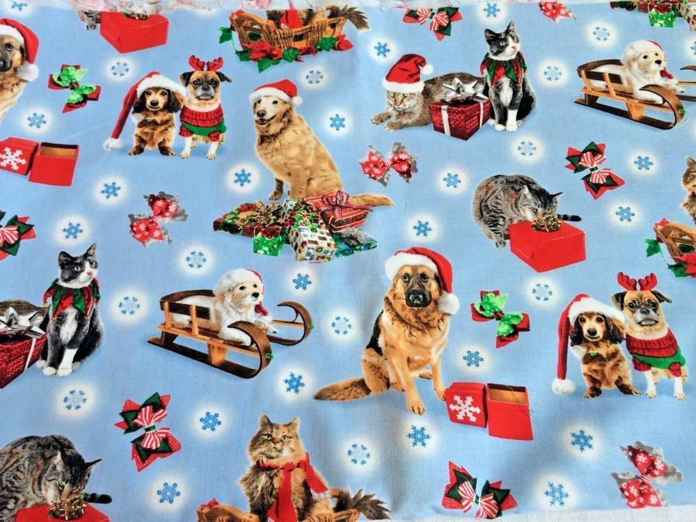 DOGS XMAS CHRISTMAS SNOWFLAKES /& PRESENTS PRINTED 100/% COTTON FABRIC