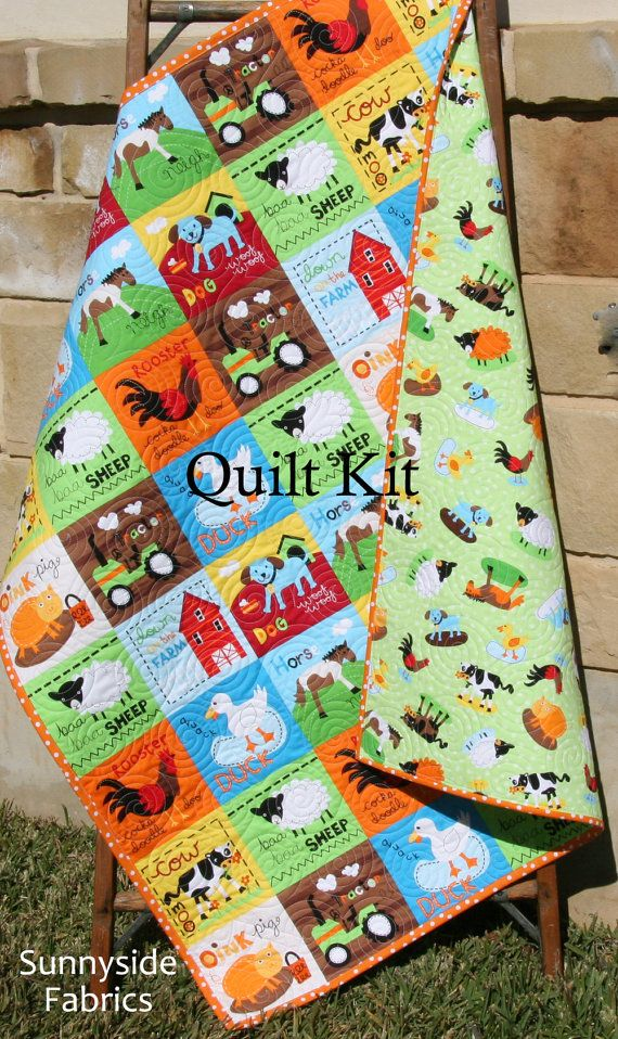 Quilt kit at the farm barnyard animals bright unisex gender neutral quilt kit at the farm barnyard animals bright unisex gender neutral robert kaufman diy do it yourself baby quilt kit cows pigs tractor barn solutioingenieria Images