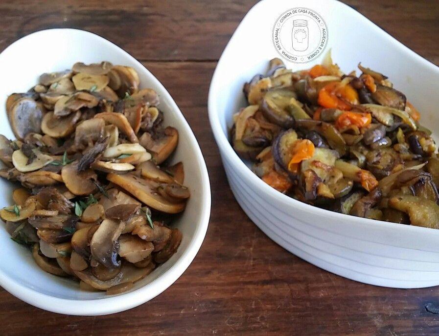 Cogumelos, berinjela e tomatinhos confit