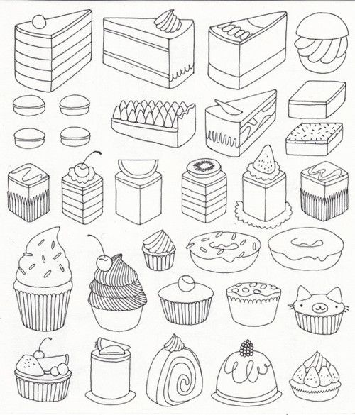Line Drawing Cake : Cake more cute drawings nice to print out for my little