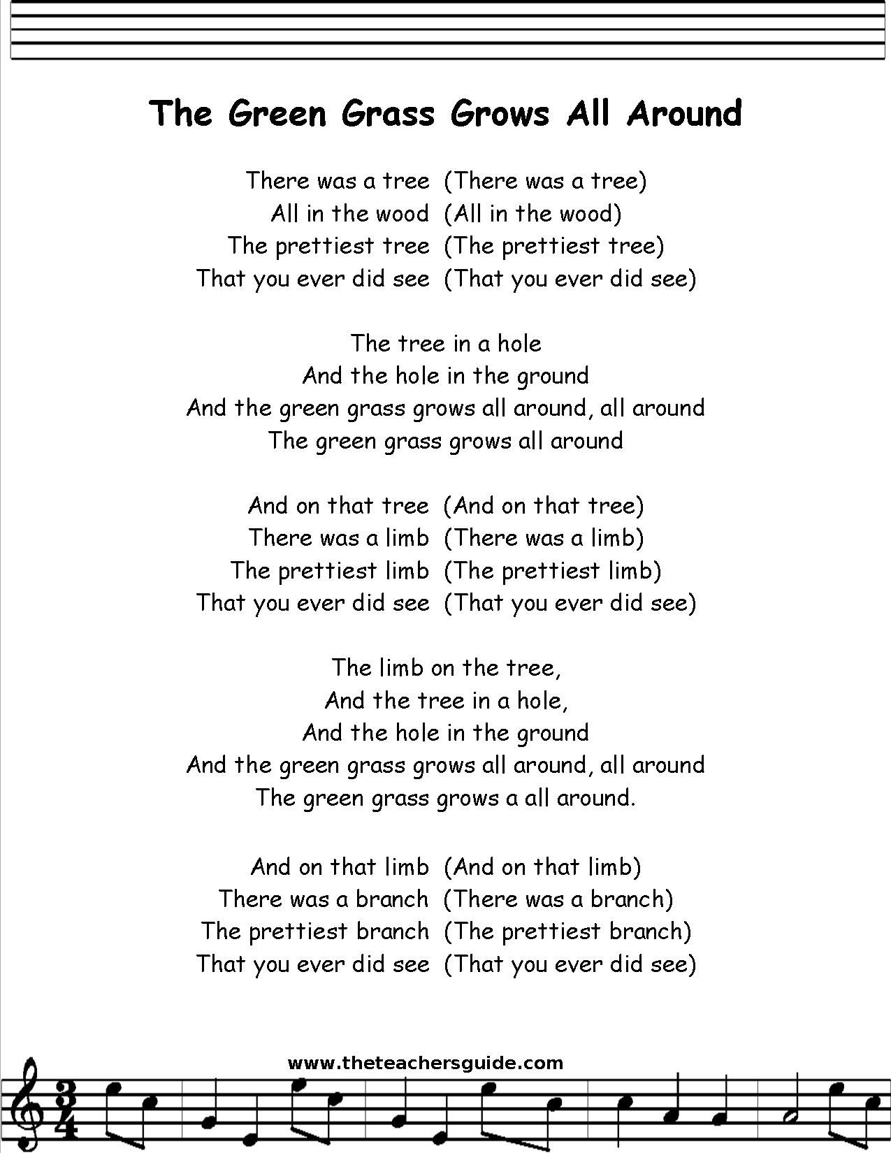 green grass grows all around lyrics printout | super ...