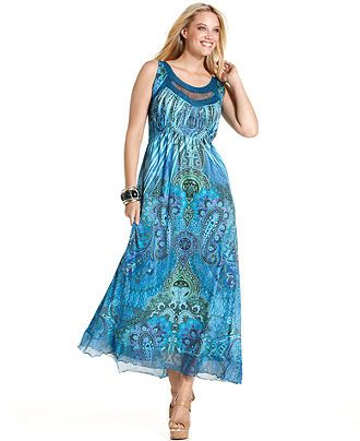 One World Plus Size Dress, Sleeveless Printed Cutout Maxi ...