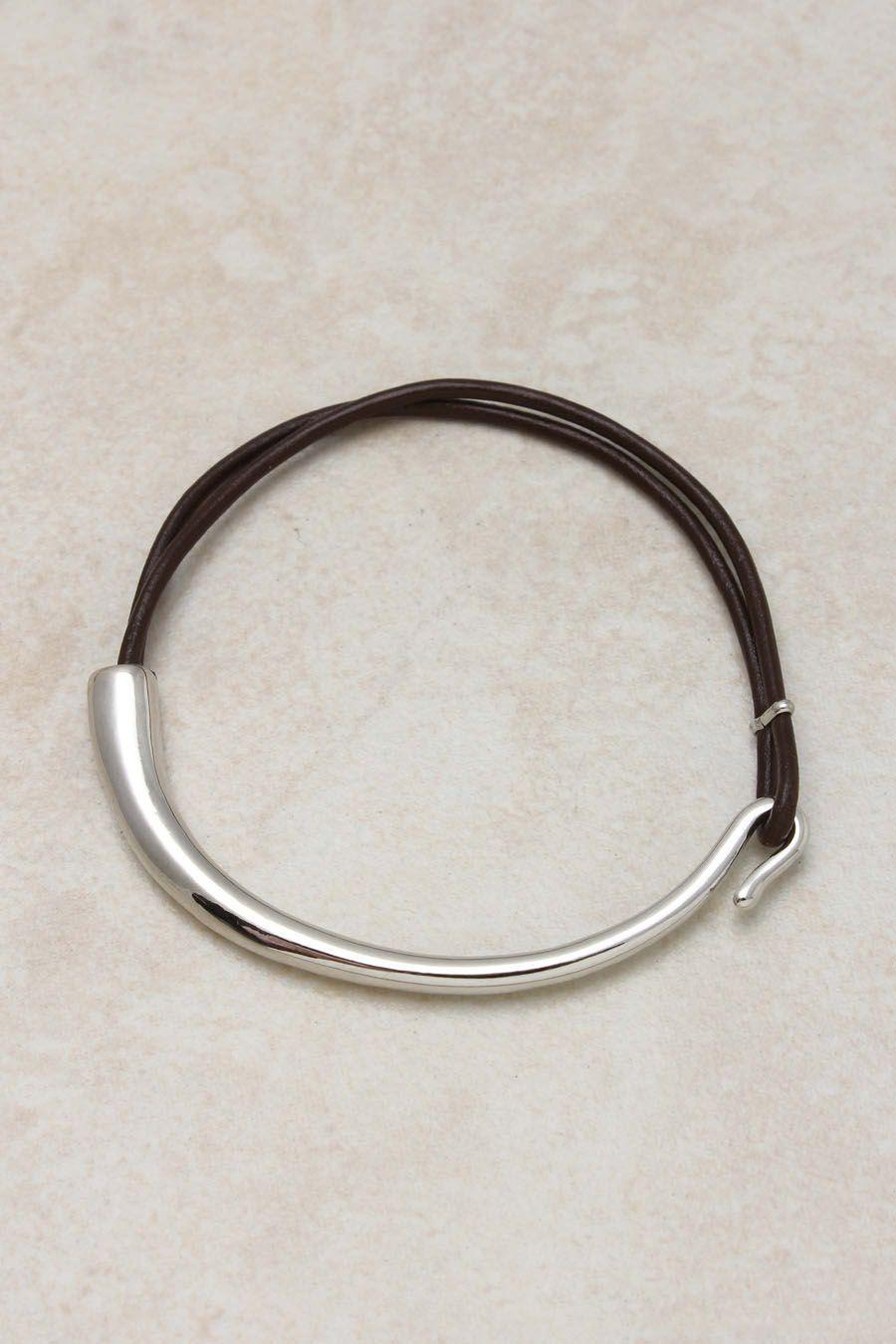 Coffee leather polished silver bracelet silver jewelry