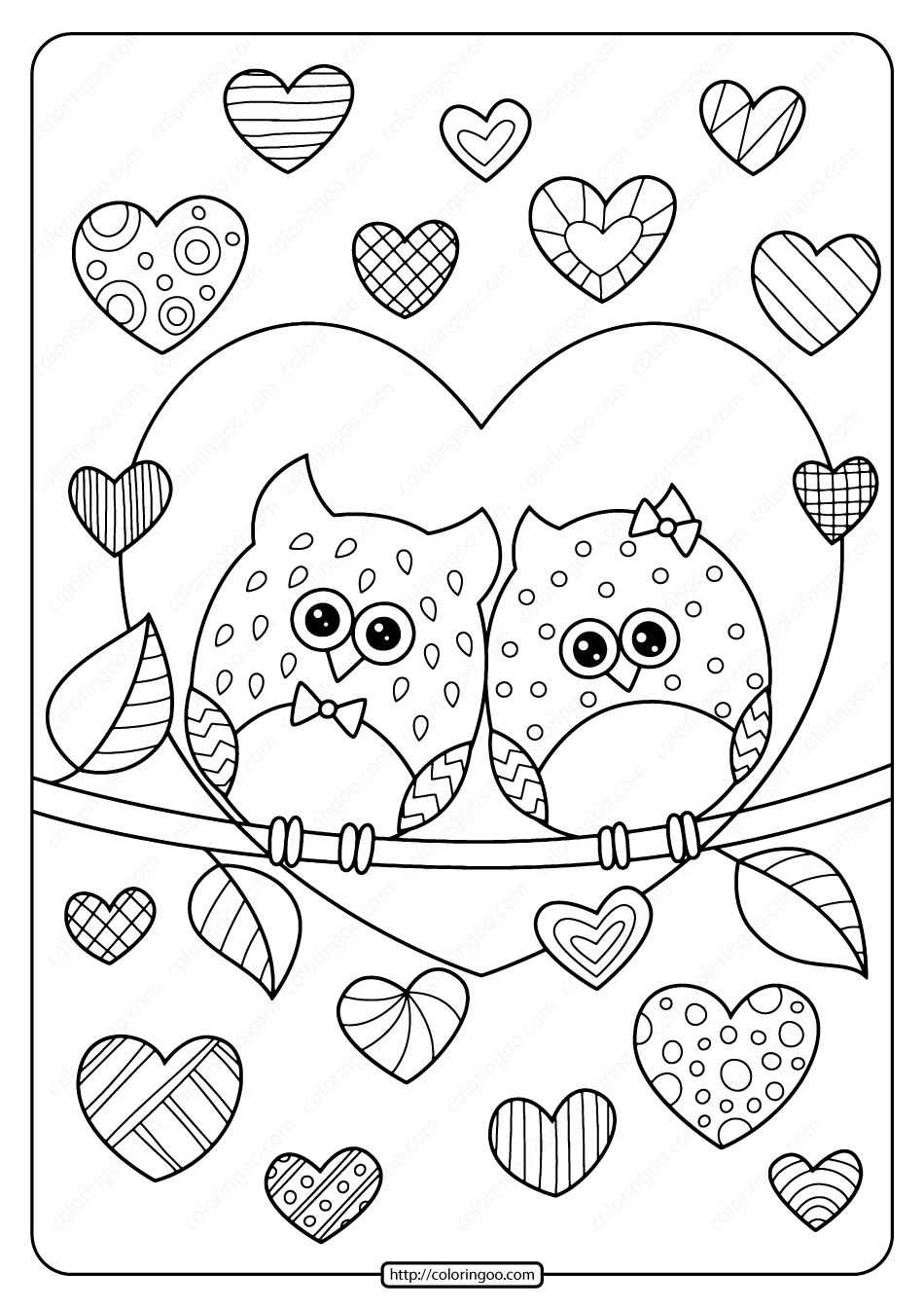 Owls In Love With Hearts Pdf Coloring Page Owl Coloring Pages Heart Coloring Pages Printable Valentines Coloring Pages