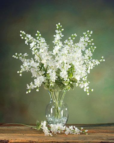 Delphinium Silk Flower Stem Cream White White Flower Arrangements Flower Arrangements Simple Artificial Flower Arrangements