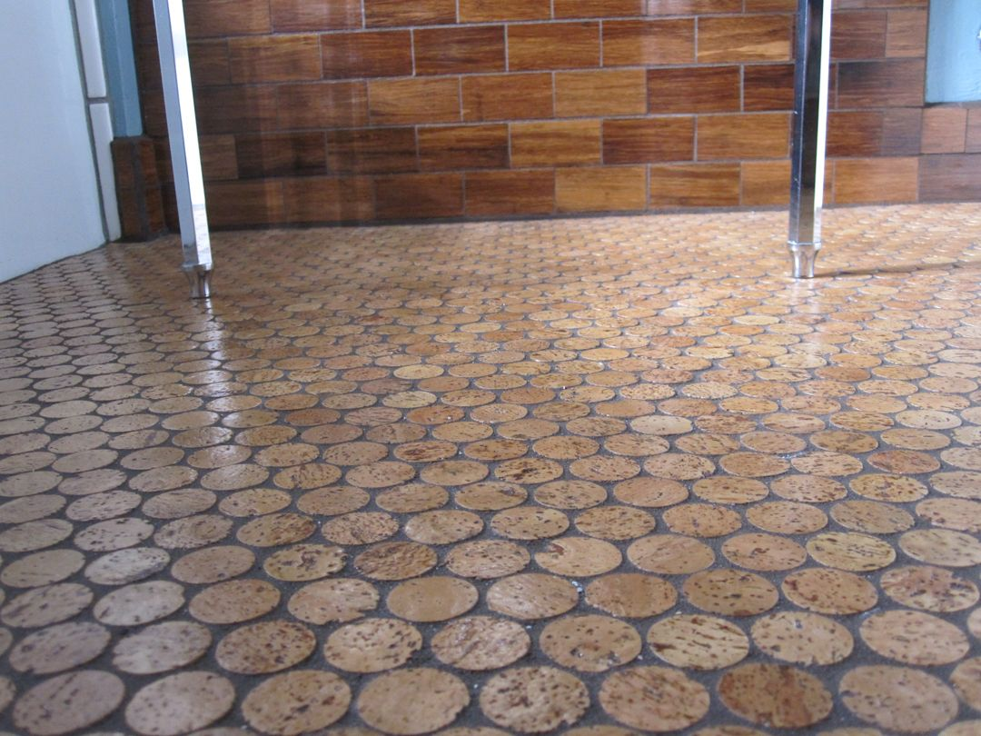 Love this cork floor sort of industrial end grain wood for Cork flooring on walls