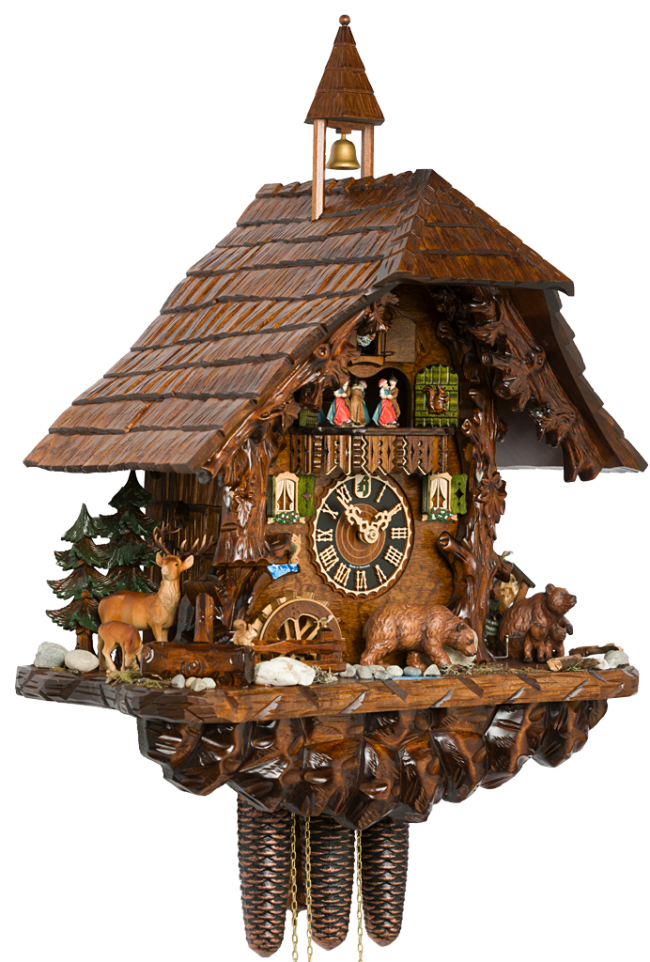 Cuckoo Clock 8 Day Chalet With Moving Bears Hones Chalet Black Forest Cuckoo Clocks Cuckoo Clocks Cuckoo Clock Clock Forest Clock