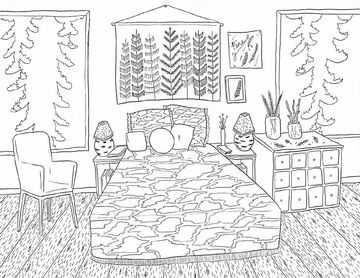 Coloring Watercolor Bedroom Colouring Page Learn Colors Coloring