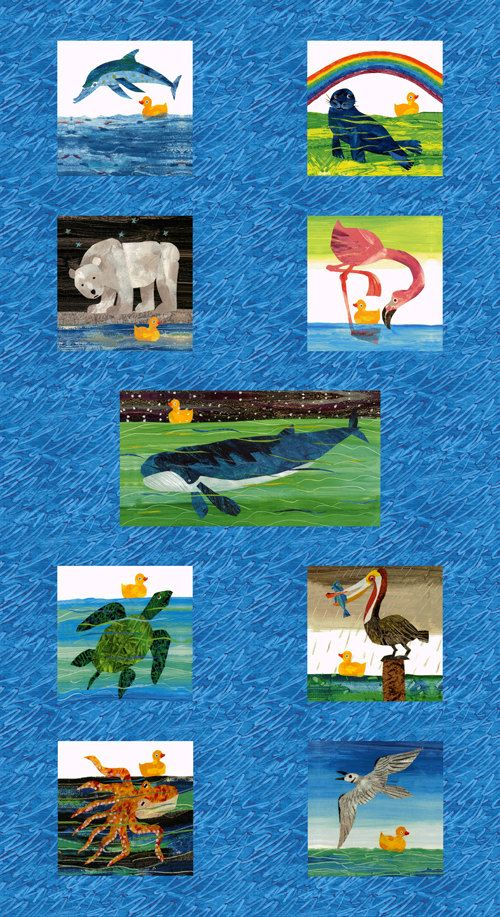 Eric Carle 10 Little Rubber Ducks Animal Multi Panel Fabric Rubber Duck Cotton Quilts Eric Carle