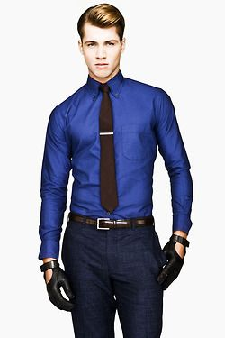 a6a4ce745099 Royal blue shirt, colored tie and gloves. #trends | stylish ...