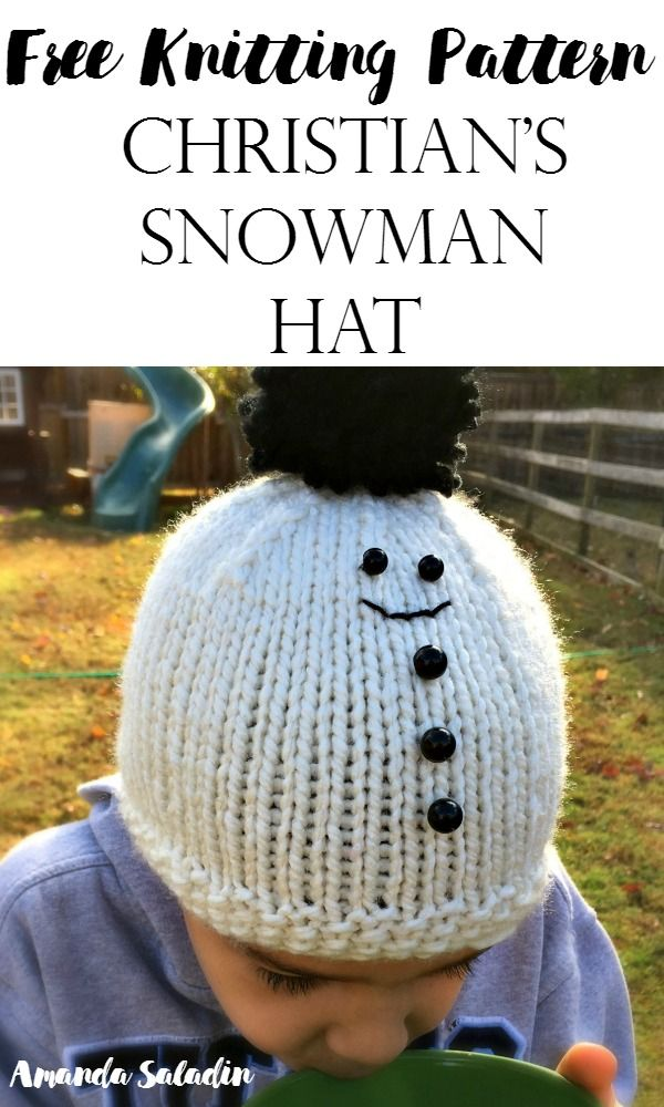 Christian\'s Snowman Hat - Free Knitting Pattern | Gorros, Gorros ...